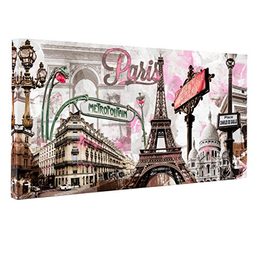 Donglin Art-Modern Wall Decor Pink Paris Eiffel Tower Paintings Stretched for Living Room City Paintings Wall Art Framed Ready to Hang 2412inch (Framed On Canvas) for $<!--$19.99-->