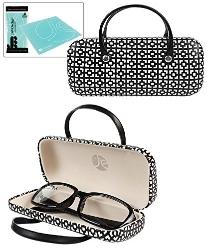 JAVOedge Black Handbag Style Hard Eyeglasses Case and Bonus Free Soft Microfiber Lens Cleaning - Eyeglasses Designer Free