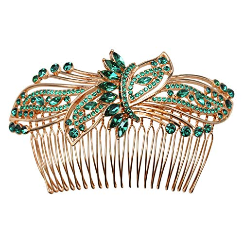 - Faship Gorgeous Emerald Color Green Rhinestone Crystal Huge Floral Hair Comb - Green