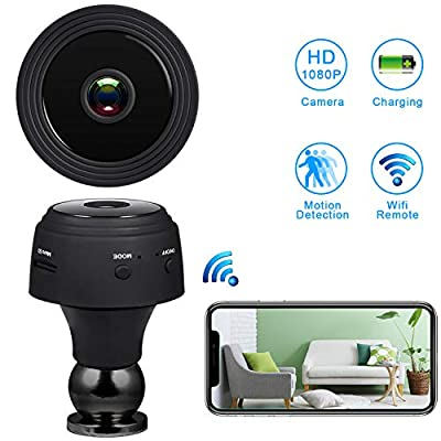 Mini Spy Camera WiFi Hidden Camera?HD 1080P Wireless Security Camera for Home Nanny Cam with Night Vision Motion Detection, Built-in Magnetic Fit for Indoor Outdoor Recording