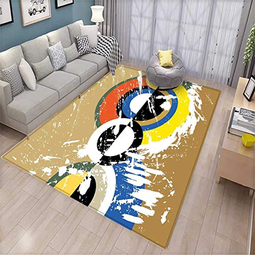 Beetle Pet Sofa - Art Area Rugs for Bedroom Abstract Geometric Grunge Stylized Circles Triangles with Paint Strokes Trippy Design Door Mats for Inside Multicolor