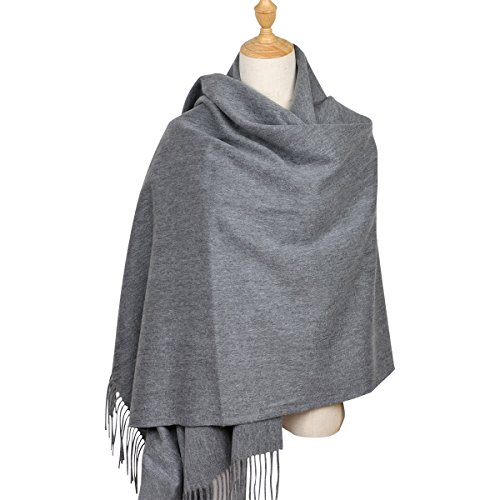 100% Lambswool Women Large Scarf Shawl Wraps Solid Color Thicken Type 78'x 28' (Dark Gray)
