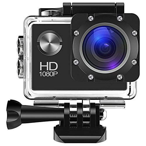 Bekhic Action Camera, 1080P HD 12MP Waterproof Cam 140 Ultra Wide-Angle Lens With Mounting Accessories Kit for Cycling Swimming Climbing Diving (Black) Bekhic