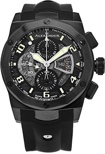 Alexander-Vanquish-Nikos-Mens-Black-PVD-Stainless-Steel-Day-Date-Black-Face-Black-Rubber-Band-Swiss-Automatic-Chronograph-Watch-A422-01
