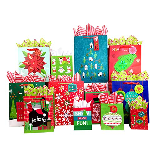 Set of Christmas Gift Bags and Tissue Paper (12 Bags + Tissue, Whimsical Holiday) (Eve Christmas Bags Gift)
