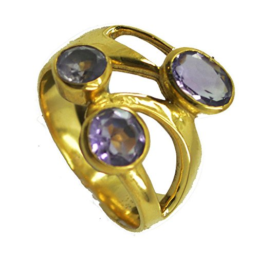 Jewelryonclick 3 Stone Amethyst CZ Gold Plated Vintage Engagement Rings Women Size 5,6,7,8,9,10,11,12