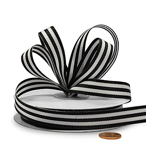 Black Jenna Striped Grosgrain Ribbon, 5/8