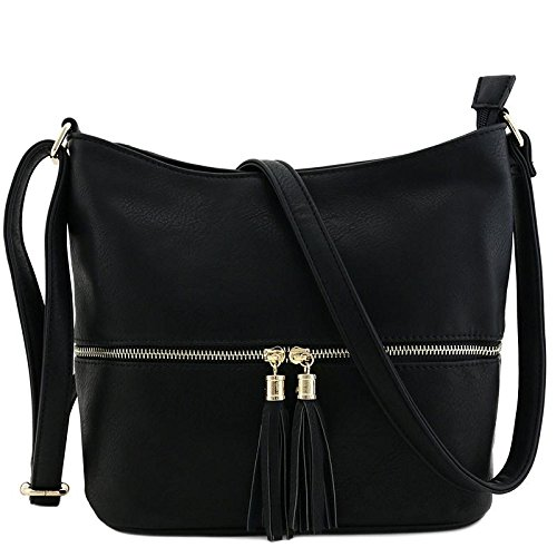 Tassel Zipper Bucket Crossbody Bag Black
