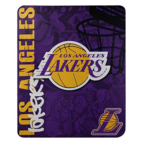 Officially Licensed NBA Los Angeles Lakers Hard Knocks Printed Fleece Throw Blanket, 50' x 60', Purple