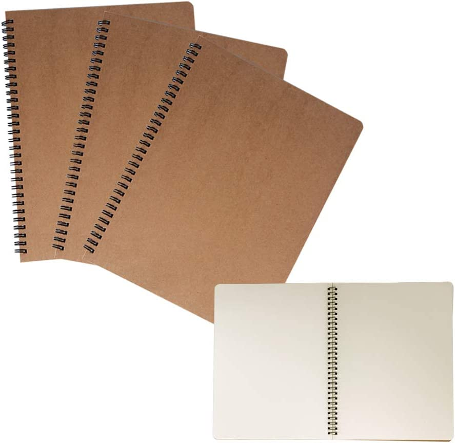3 Pack Spiral Journal Notebook Blank Sketch Notebooks for Travelers, College Students, Subject Notebooks Planner - 8 x 10.5 inch, 60 Unlined Perforated Sheets/120 Pages By ZMYBCPACK