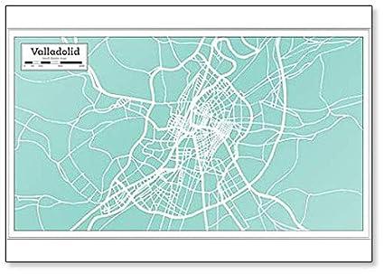 Map Of Spain Valladolid.Amazon Com Valladolid Spain City Map In Retro Style Classic Fridge