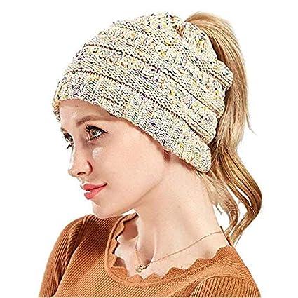 Azornic Women BeanieTail Ponytail Beanie Soft Stretch Cable Knit Messy High Bun Hat