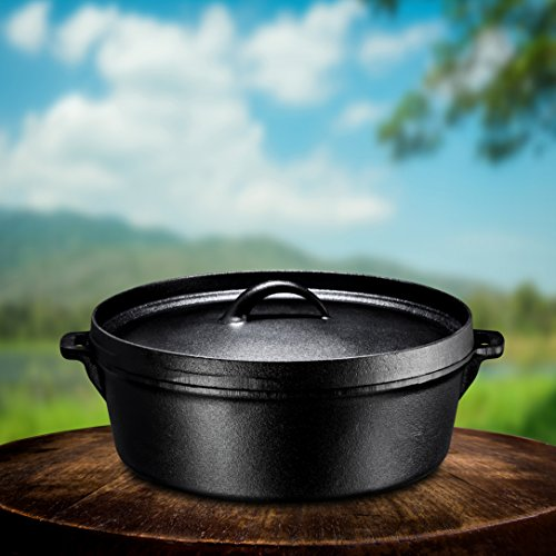 Bruntmor Cast Iron Dutch Oven with Lid Iron Campfire Fireplace Flat