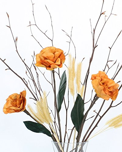 (Green Floral Crafts Burmese Forever Butterscotch Yellow Roses & Branches DIY Kit- Vase NOT)