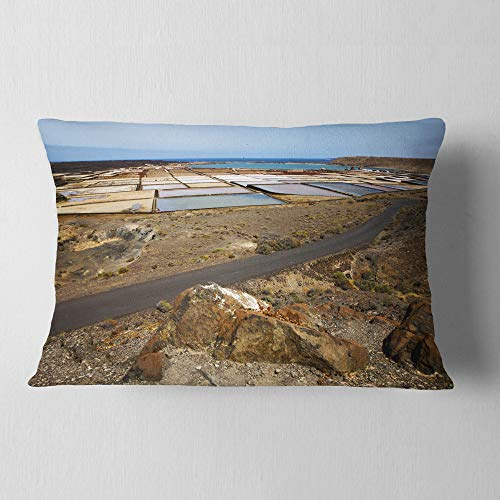 Designart CU10727-12-20 Salt in Lanzarote Spain Musk Pond' Seashore Throw Lumbar Cushion Pillow Cover for Living Room, Sofa, 12'' x 20'' by Designart