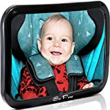 Baby Backseat Mirror for Car - View Infant in Rear Facing Car Seat - Lifetime Satisfaction Guarantee - Newborn Safety with Secure Headrest Double-Strap - Essential Car Seat Accessories