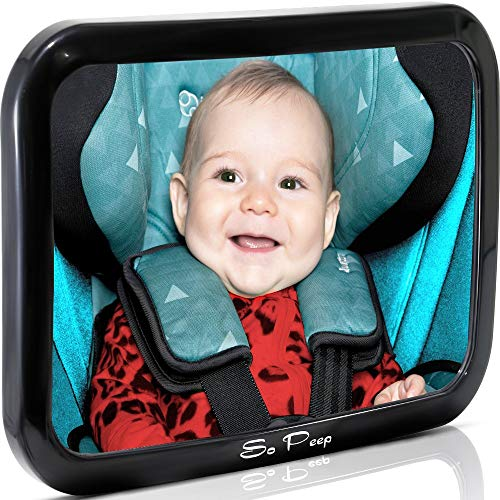 (Baby Backseat Mirror for Car - View Infant in Rear Facing Car Seat - 100% Lifetime Satisfaction Guarantee - Best Newborn Safety with Secure Headrest Double-Strap - Essential Car Seat)