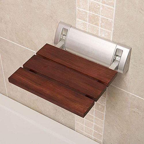 Stylish Sapele Folding Shower Seat With Crome Hinges & Wide Base - 12' x 14' - Solid Wood Bath Accessory - Wall Mounted - Fold Down Luxury Spa Bench