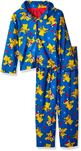 Pj Coat Set (Pokemon Boys' Little Pikachu Holiday 2-Piece Pajama Coat Set, Chilly, 4)