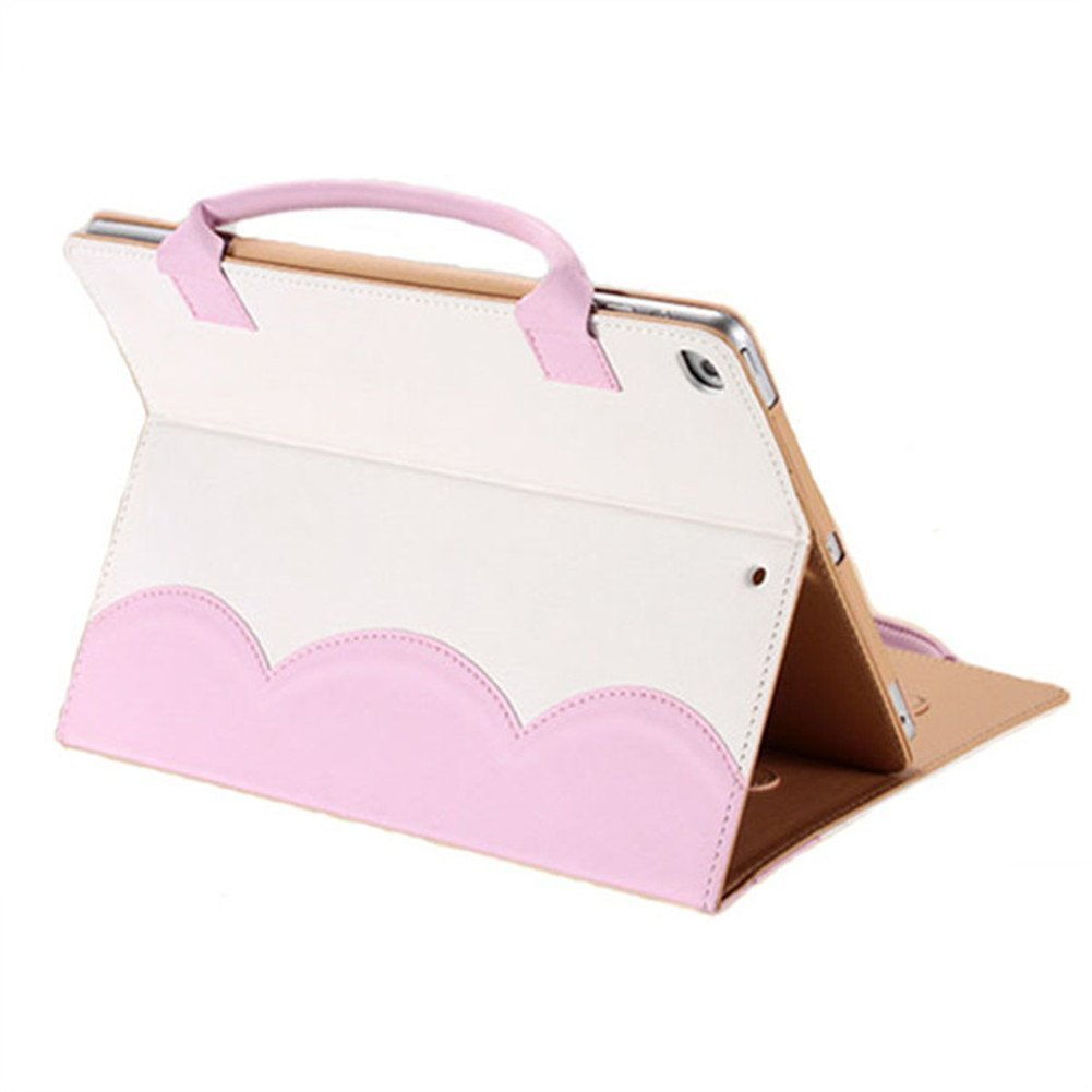 FuriGer iPad Mini 1/2/3 Case, Portable Lovely Women Handbag Cute Bowknot Slim Fit Synthetic Leather Magnetic Flip Stand Case Cover with Handle & Storage Compartment, Pink