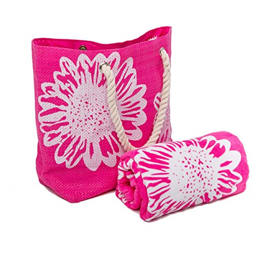 Bolsa de Playa Para Mujer + Toalla de Playa 2 Piezas Floral Airee Fairee Rosa