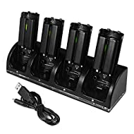 XCSOURCE Station de Charge 4 Ports avec 4 Packs Batteries Rechargeables 2800mAh et Lumières LED pour Manette Nintendo Wii Noir AC635