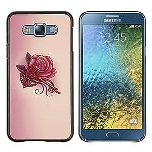 TECHCASE---Cubierta de la caja de protección para la piel dura ** Samsung Galaxy E7 E700 ** --Tatuaje Clave Roja Tinta Arte Dibujo