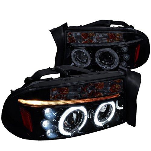 Headlights Housing Projector Halo - Spec-D Tuning 2LHP-DAK97G-TM Black Projector Headlight (Halo Gloss Housing Smoke Lens)