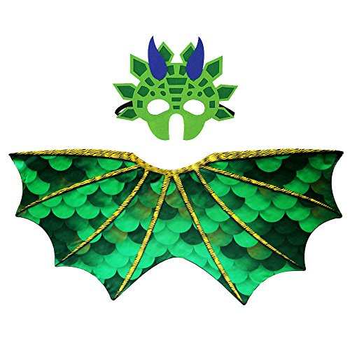 Kids Dinosaur Wings Costume with Felt Mask Dragon Cape Accessory-Boys Girls Pretend Play Dress Up Party Games(Green) ()