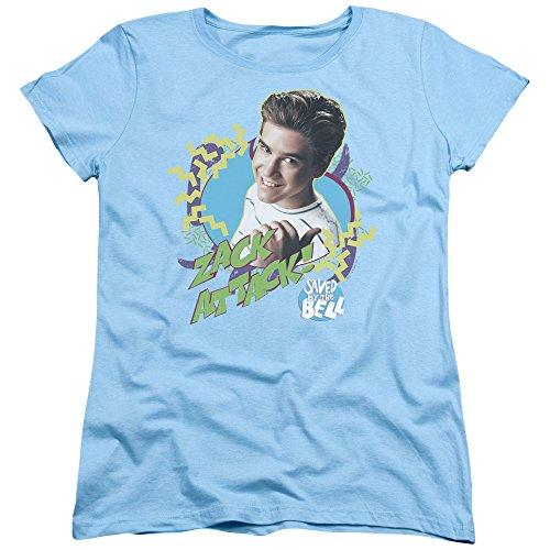 Trevco Saved by The Bell Zack Attack Women's T Shirt, Medium Light Blue