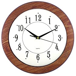 Timekeeper Products LLC 12 Wood Grain Round Wall Clock, Light