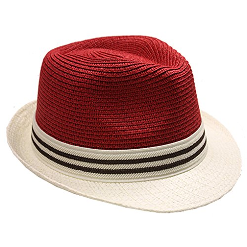 (Silver Fever Thin Brimmed Woven Fedora Hat (Red Beige w Stripe))