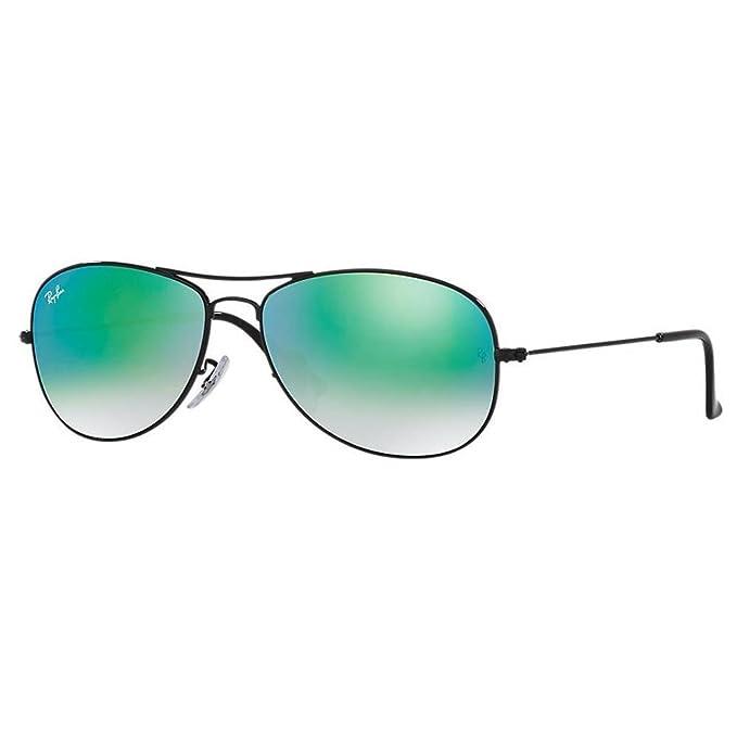 Ray-Ban Gafas de sol de aviador cabina en negro degradado espejo verde RB3362 002/4J 56