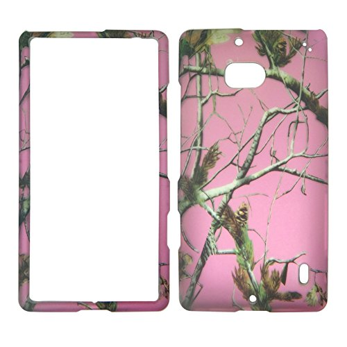 2D Pink Camo Pine Nokia Lumia Icon 929 Verizon Case Cover Hard Phone Case Snap-on Cover Rubberized Touch (Nokia Icon Verizon)