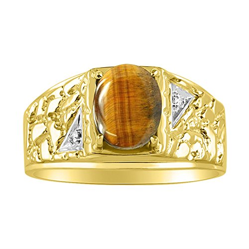 Genuine Oval Tiger Eye & Natural Diamonds Set in Nugget Designer Style Yellow Gold Plated Silver 925 Ring