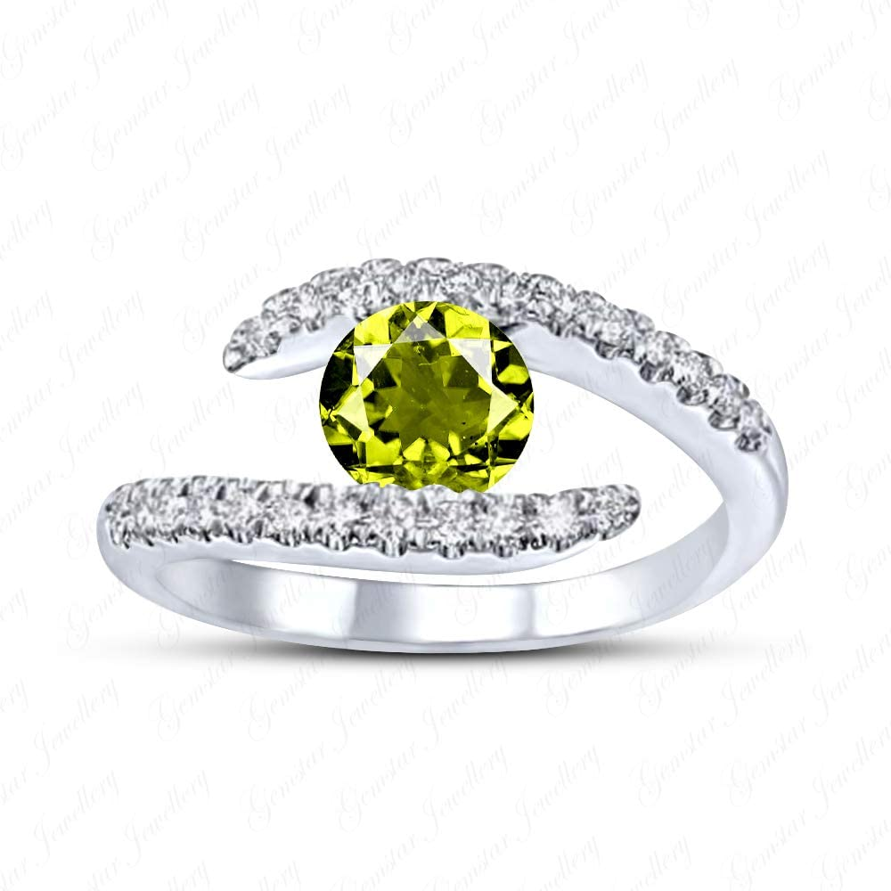 Gemstar Jewellery 18k White Gold Plated 925 Silver Wedding Bypass Promise Ring with Green Peridot