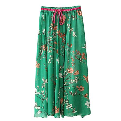 Soie Bohme lastique Casual Plage Fleur Mousseline imprim Verte Floral en Longue Femme Jupe de Tulle ptwfEpvq
