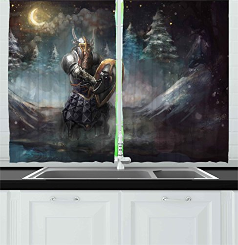 Ambesonne Fantasy Kitchen Curtains, Artistic Illustration of Medival Dwarf Knight in Gothic Shield in Mysterious Forest, Window Drapes 2 Panel Set for Kitchen Cafe, 55 W X 39 L Inches, ()