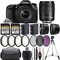 Canon EOS 80D DSLR Camera + Canon 18-135mm IS USM Lens + 0.43X Wide Angle Lens + 2.2x Telephoto Lens + 64GB Storage + 4PC Macro Kit + UV-CPL-FLD Filters + Backup Battery + Case - International Version
