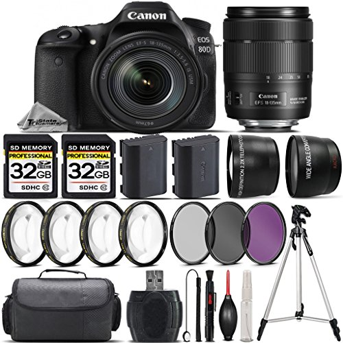 Canon-EOS-80D-DSLR-Camera-Canon-18-135mm-IS-USM-Lens-043X-Wide-Angle-Lens-22x-Telephoto-Lens-64GB-Storage-4PC-Macro-Kit-UV-CPL-FLD-Filters-Backup-Battery-Case-International-Version