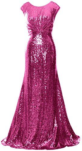 MACloth Women Long Bridesmaid Gown Cap Sleeve Sequin Formal Party Evening Dress Fuchsia