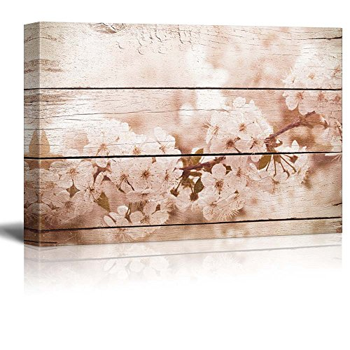 Romantic White Blossoms on a Branch Rustic Floral Arrangements Pastels Colorful Beautiful Wood Grain Antique