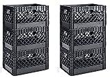 Muscle Rack PMK24QTB-3 24 quart 3 Pack black Heavy Duty Rectangular Stackable Dairy Milk Crates , 11'' Height, 19'' width (2 X 3 Pack)