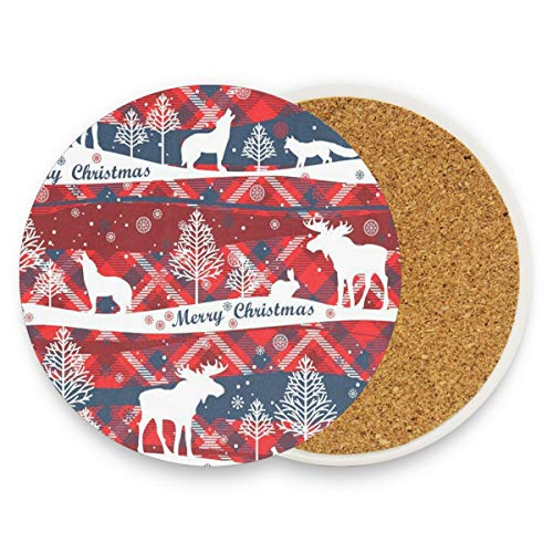 Merry Christmas And Happy New Coasters, Protection For Granite, Glass, Soapstone, Sandstone, Marble, Stone Table - Perfect Drink Coasters,Round Cup Mat Pad For Home, Kitchen Or Bar 1 Piece -
