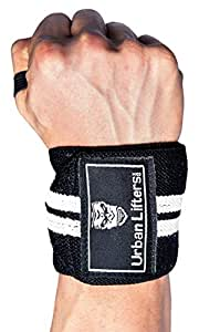 Weight Lifting Wrist Wraps Heavy Duty Wrist Support for Weight Training, Bodybuilding, Olympic Lifting, Power Lifting, Crossfit and Strongman (Black/White)