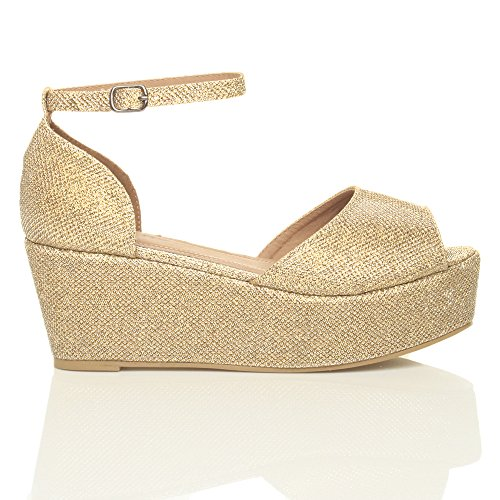 Heel Sandals Gold Shoes Size Flatform Ajvani Mid Glitter Women SqvAE