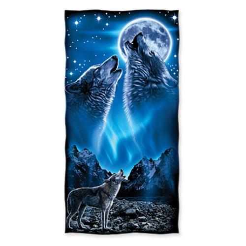 Dawhud Direct Wolves Howling Moon Cotton Beach Towel ()