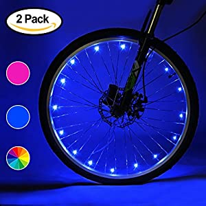 Accmor 2 Pack LED Bike Wheel Lights, Safety Waterproof 3AA Battery Operated Spoke Lights(Blue/Pink/Multi, Batteries Not Included)