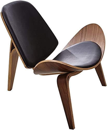 Homary Mid-Century Modern Shell Chair Single Side Chair Tripod Black Leather Lounge Chair