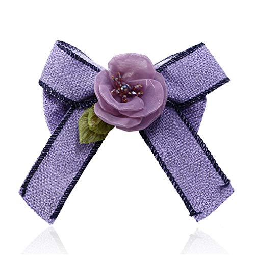 Fabric Bow Brooches For Women Neck Tie Imported Material Wedding Party Lace Crystal Flower Brooch Clothing Accessories -3